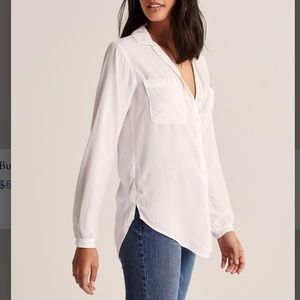 White oversized button up from Abercrombie